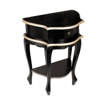 Black with Silver Trim Wooden one drawer Lamp Table
