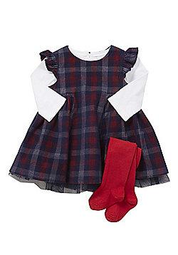 F&F Long Sleeve T-Shirt, Tartan Dress and Tights Set - Multi