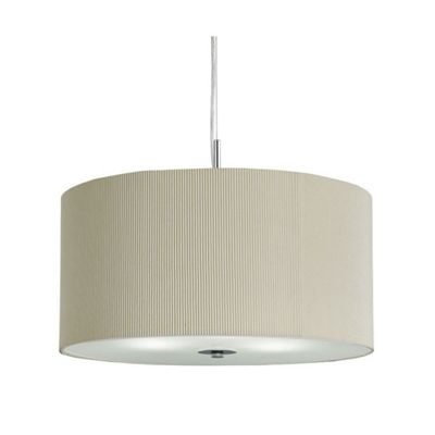 DRUM PLEAT PENDANT - 3 LIGHT PLEATED SHADE PENDANT CREAM WITH FROSTED GLASS DIFFUSER DIA 40CM