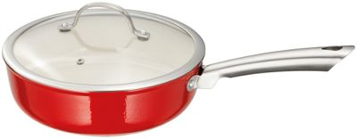Stellar Easy Lift Cast Iron Saute Pan with Lid in Red 24cm