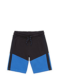 F&F Mesh Trim Colour Block Sweat Shorts - Black & Blue