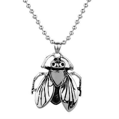 Urban Male Nature Is You Men's Large Fly Pendant & Chain In Stainless Steel