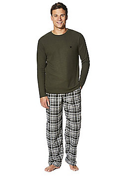 F&F Checked Flannel Loungewear Set - Khaki