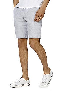 F&F Mini Grid Linen Blend Shorts - White & Navy