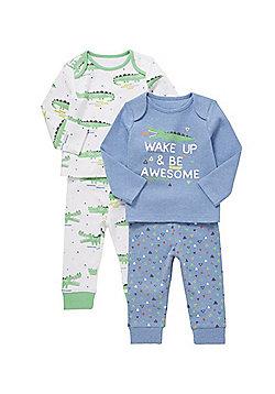 F&F 2 Pack of Slogan and Crocodile Print Pyjamas - Multi