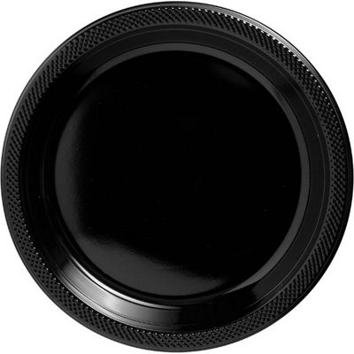 Black Serving Plates - 26cm Plastic - 50 Pack