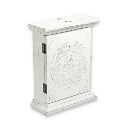 Decorative Antique White Finish Wooden Key Box