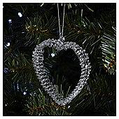 Weiste Glass Sparkle Heart Christmas Tree Decoration