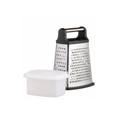 Master Class Stainless Steel Four Sided Box Grater with Collecting Box 23cm, Sleeved