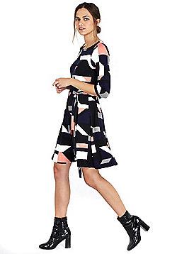 Wallis Petite Geometric Print Fit and Flare Dress - Navy