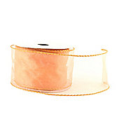 "Ribbon Organza Wired Edge - 2.5"" x 10y - Peach"