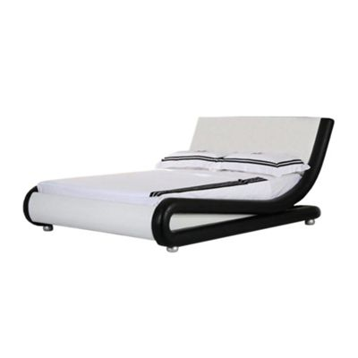 Comfy Living 4ft6 Double Curved Faux Leather Bed Frame in Black & White with Basic Budget Mattress