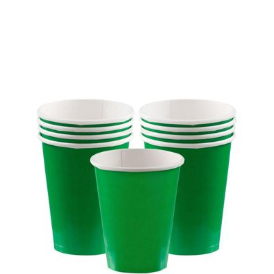 Green Cups - 266ml Paper Party Cups - 8 Pack