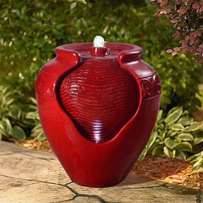 Peaktop Outdoor Décor Garden Red LED Water Pump Fountain Water Feature YG0034AZ-UK