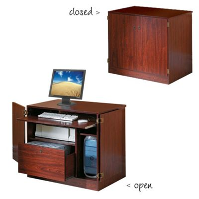 Techstyle Hideaway Workstation / Desk Cabinet - Mahogany
