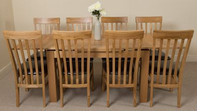 Richmond medium Extending Solid Oak Dining Table with 8 Solid Oak Leather Chairs