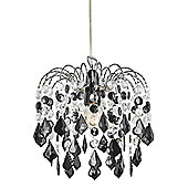 Black Acrylic Easy Fit Pendant Light Shade with Chrome Metal Frame