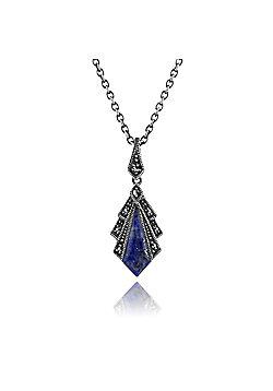 Gemondo 1ct Lapis Lazuli & Marcasite Art Deco Necklace in 925 Sterling Silver