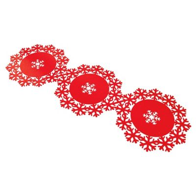 Tesco Snowflake Table Runner, Red