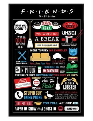 Gloss Black Framed Friends Infographic Poster