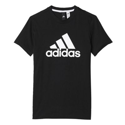 adidas Essentials Logo Kids Youth Kids Short Sleeve T-Shirt Tee Black - 7-8 Years