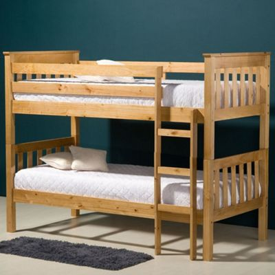 Happy Beds Seattle Wood Kids Bunk Bed with 2 Memory Foam Mattresses - Antique Pine - 3ft Single
