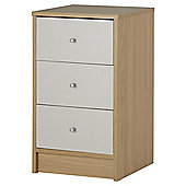 Tolke  3 Drawer Bedside Cabinet Oak Grey