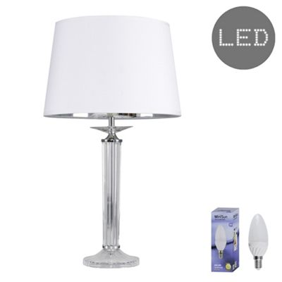 Atella Column LED Table Lamp - White & Silver