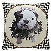Black and White Princess Bulldog Cushion Photographic Design Home Decor