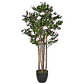 Homescapes Pink Potted Artificial Rose Tree with Dark Green Leaves - 4 Feet