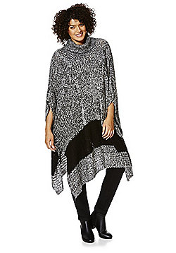 Junarose Wide Stripe Plus Size Poncho - Grey