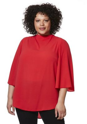 Lovedrobe Cut-Out Back Flute Sleeve Plus Size Top Red 18