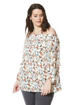 Lovedrobe Ditsy Bardot Plus Size Top Multi 16