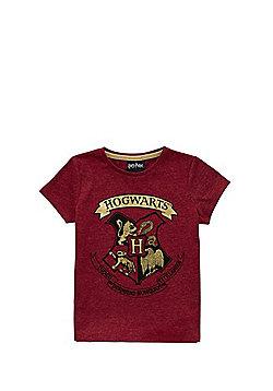 Warner Bros. Harry Potter Hogwarts Crest T-Shirt - Red marl