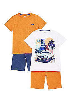 F&F 2 Pack of Vintage Car Pyjamas - Orange