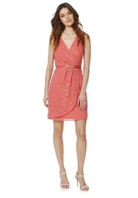 Yumi Floral Lace Wrap Style Dress with Belt 8 Coral