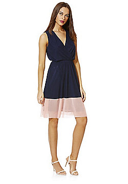 Mela London Contrast Hem Sleeveless Dress - Navy