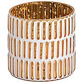Small Gold And White Patterned Stylish Tea Light Candle Holder