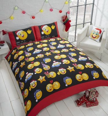 Christmas Emojis reversible duvet cover and pillowcase set - multi - king