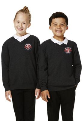 Unisex Embroidered V-Neck Cotton School Jumper with As New Technology 11-12 years Dark grey