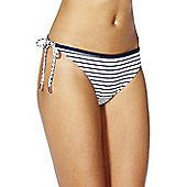 F&F Reversible Striped Side Tie Bikini Briefs - Navy & White