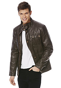 F&F 4 Pocket Faux Leather Jacket - Brown