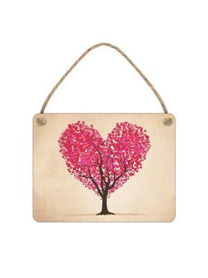Heart Leaf Tree Tiny Tin Sign 10.1x7.7cm