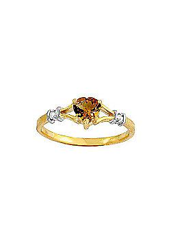 QP Jewellers Diamond & Citrine Heart Ring in 14K Gold