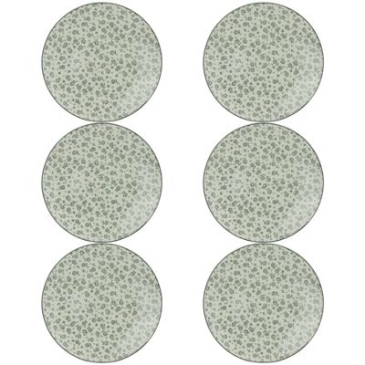 Flower Design Patterned Side / Dessert Plates - White / Grey 190mm x6