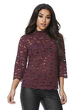 F&F Floral Mesh Lace High Neck Top - Burgundy