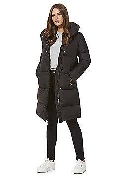 F&F Shower Resistant Down Fill Duvet Coat - Black