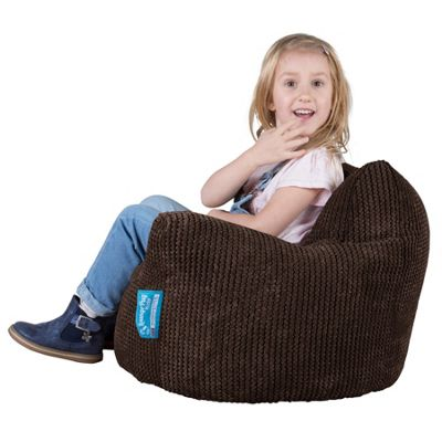 Lounge Pug® Childrens Armchair Bean Bag - Pom Pom Chocolate Brown