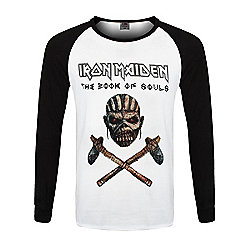 Iron Maiden Book Of Souls Men's Raglan T-Shirt Black & White - White