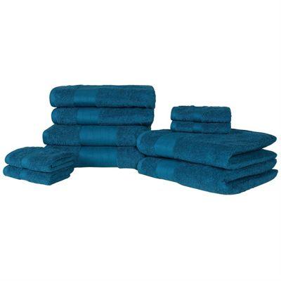 Dreamscene Luxury 100% Cotton 10 Piece Bath Towel Set, Teal